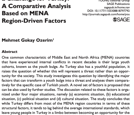 "New Article by Gökay Özerim: ""Can the Youth Bulge Pose a Challenge for Turkey? A Comparative Analysis Based on MENA Region-Driven Factors"" is published by ""YOUNG-Nordic Journal of Youth Research (SSCI) – Yasar University"