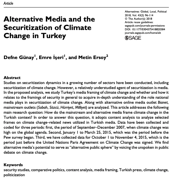 "New article co-authored by Emre İşeri ""Alternative Media and the Securitization of Climate Change in Turkey"""
