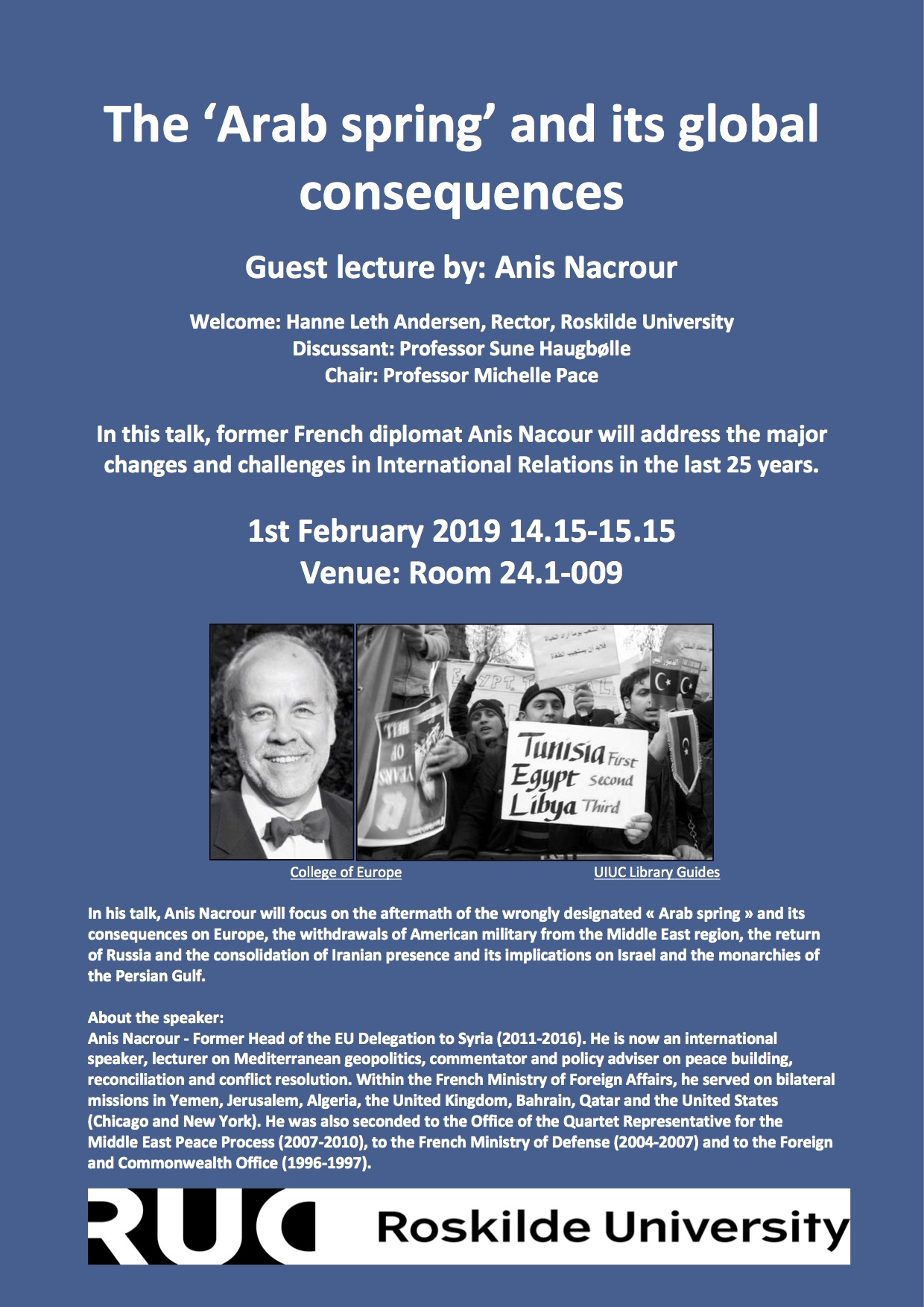 """Guest lecture: Anis Nacrour """"The 'Arab Spring' and its Global Consequences"""" – Roskilde, 1 February 2019"""