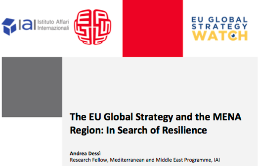 "New article by Andrea Dessì ""The EU Global Strategy and the MENA Region: In Search of Resilience"""