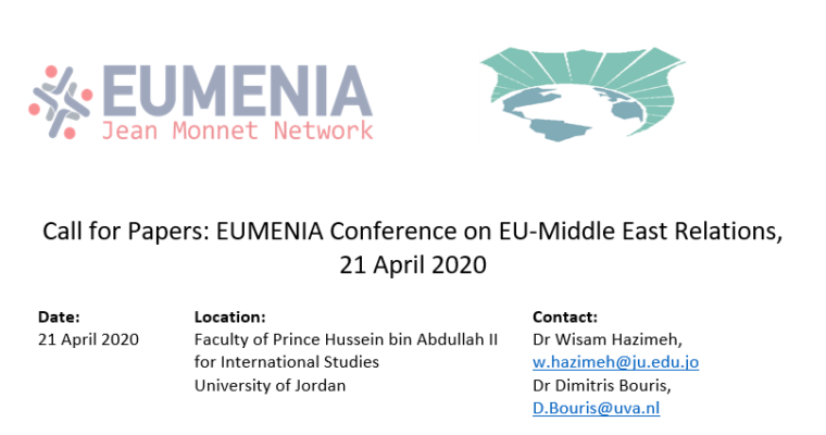 Call for Papers: EUMENIA Conference on EU-Middle East Relations, 21 April 2020