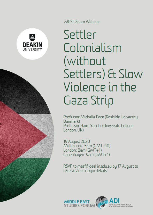 Webinar on Settler Colonialism (without Settlers) & Slow Violence in the Gaza Strip