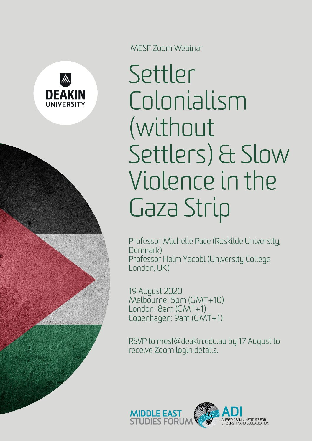 "Professor Michelle Pace was a speaker at the webinar ""Settler Colonialism (without Settlers) & Slow Violence in the Gaza Strip""​"