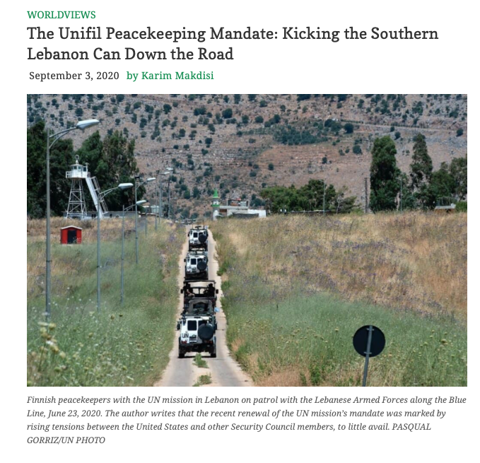 "New article by Prof Karim Makdisi entitled ​""The Unifil Peacekeeping Mandate: Kicking the Southern Lebanon Can Down the Road"""