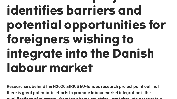 """Prof Michelle Pacesuccessfully organised and participated as a speaker at the conference """"Migrants, Refugees and Asylum Seekers in the Danish Labour Market: Challenges and Opportunities"""""""