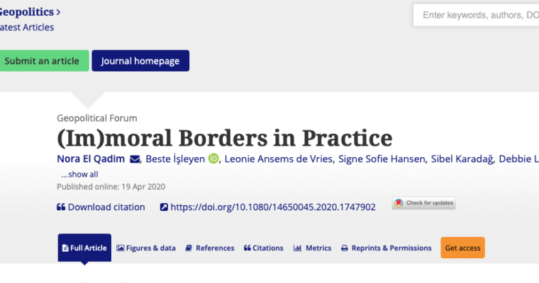 """New article by Dr Beste Isleyen entitled """"(Im)moral Borders in Practice"""", published in Geopolitics."""