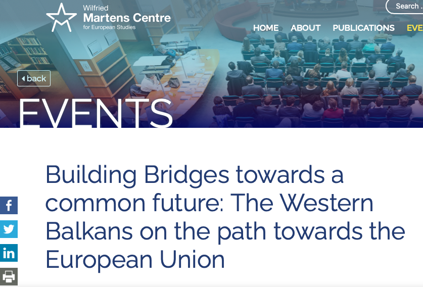 """Prof Nikolaos Tzifakis was a speaker at the event """"Building Bridges towards а common future: The Western Balkans on the path towards the European Union"""" and in the webinar: """"New Vitality for an Old Debate: The state of Europe"""""""