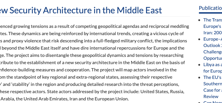 """The Istituto Affari Internazionali (IAI) published a series of papers and held various events under the topic """"Fostering a New Security Architecture in the Middle East"""""""