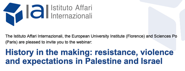 """Register now! Dr Daniela Huber will participate on a Webinar""""History in the making: resistance, violence and expectations in Palestine and Israel"""""""