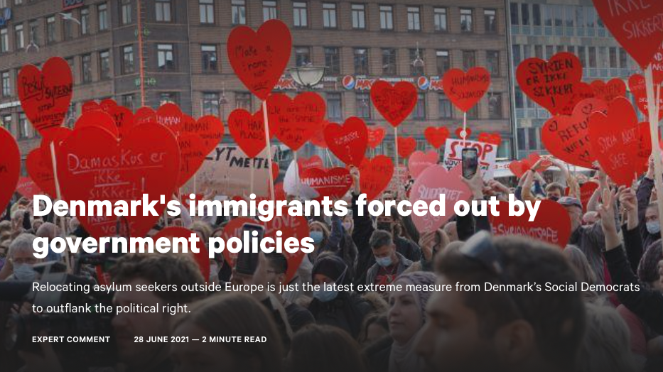 """New publication by Prof Michelle Pace """"Denmark's immigrants forced out by government policies"""" at Chatham House"""