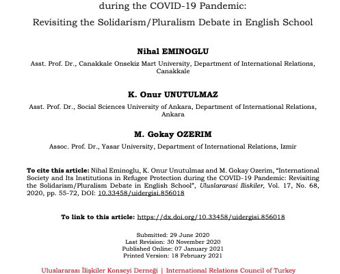 New article by Dr Gökay Özerim, International Society and Its Institutions in Refugee Protection during the COVID-19 Pandemic: Revisiting the Solidarism/Pluralism Debate in English School