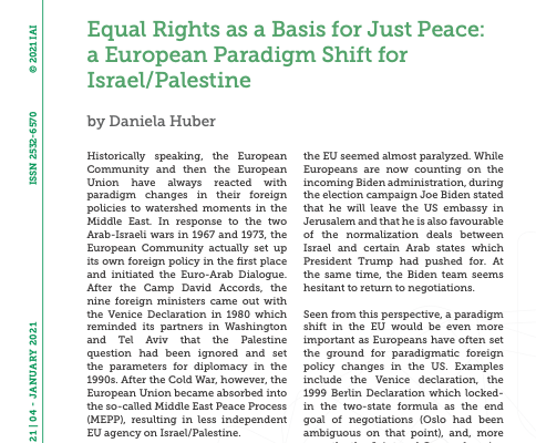 """New Article byDr Daniela Huber,""""Equal Rights as a Basis for Just Peace: a European Paradigm Shift for Israel/Palestine"""""""