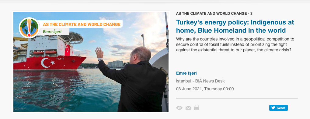 """New commentary by Prof İşeri, E., """"Turkey's energy policy: Indigenous at home, Blue Homeland in the World"""""""