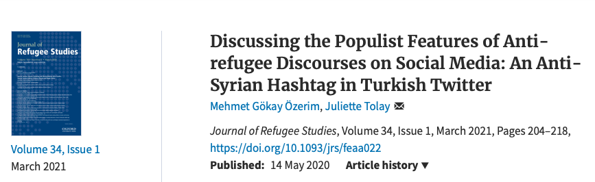 """New article by Dr. Özerim, M. G. """"Discussing the populist features of anti-refugee discourses on social media: an anti-Syrian hashtag in Turkish Twitter""""."""