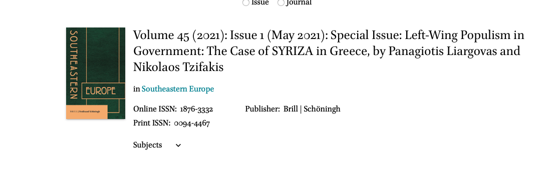 """Dr. Nikolaos Tzifakis published an article """"Special Issue: Left-Wing Populism in Government: The case of Syriza in Greece"""""""