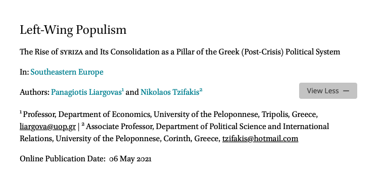 """New Article by Dr. Nikolaos Tzifakis: """"Left-Wing Populism: The Rise of Syriza and its Consolidation as a Pillar of the Greek (Post-Crisis) Political System"""","""
